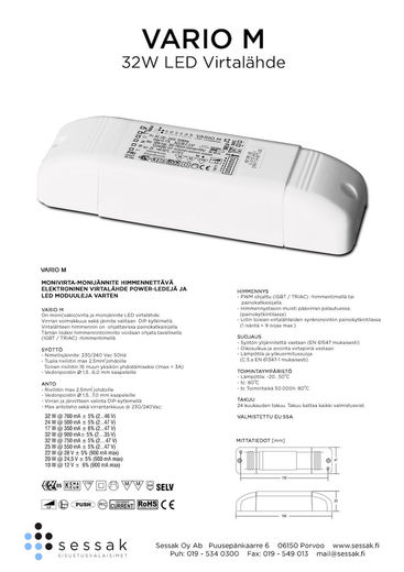 Sessak Vario M 32W LED virtalähde